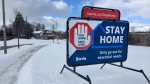 A COVID-19 sign in Barrie, Ont., is pictured on Sat., Feb. 6, 2021 (Steve Mansbridge/CTV News)