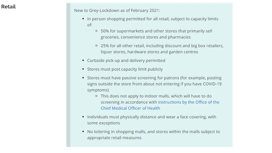 Retail rules in Grey-Lockdown
