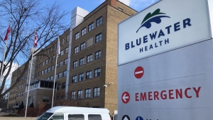 The older section of Sarnia's Bluewater Health hospital is seen on Monday, Feb. 8, 2021 (Sean Irvine / CTV News)
