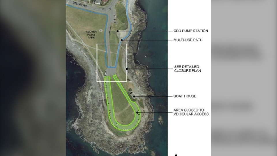 The Clover Point redesign proposal that closes the entire loop road to vehicles is shown: (City of Victoria)