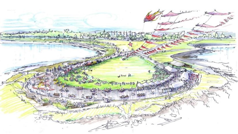 An artist's rendering of the city's initial Clover Point redesign proposal, which closes the entire loop road to traffic, is shown:(City of Victoria)