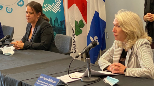 Montreal director of public health Mylene Drouin and Centre-Sud CIUSSS CEO and president Sonia Ethier at a news conference - FILE PHOTO. SOURCE: Sonia Etheir/Facebook