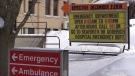 Emergency room sign in Clinton Ont. on Feb. 10, 2021. (Scott Miller/CTV London)