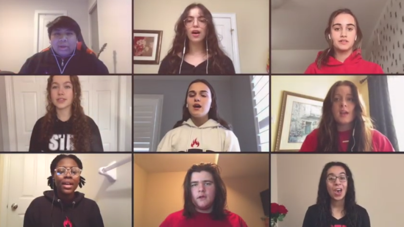 An image taken from the St. Thomas Aquinas students' rendition of Rise Up. (Source: Thomas Aquinas / YouTube)