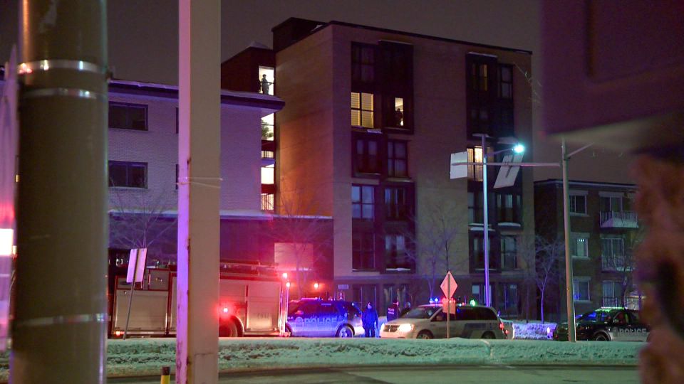 Montreal police (SPVM) intervened on Pie-IX Blvd. at an apartment building when they found an injured man lying in a hallway. (Cosmo Santamaria/CTV News)