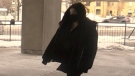 Daniella Leis arrives for her sentencing hearing in London, Ont. on Thursday, Feb. 11, 2021. (Sean Irvine / CTV News)
