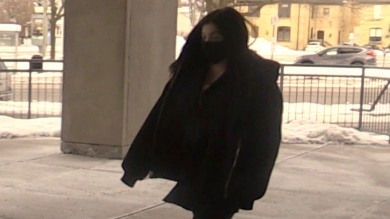 Daniella Leis arrives for her sentencing hearing in London, Ont. on Thursday, Feb. 11, 2021. (Sean Irvine / CTV News)