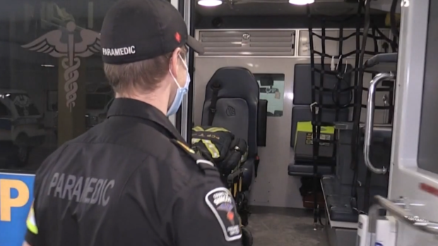 A Simcoe County paramedic pictured on Mon., Feb. 8, 2021. (Roger Klein/CTV News)