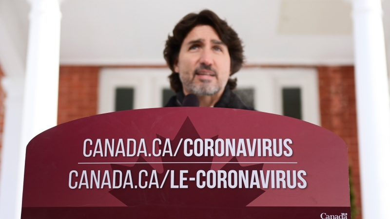 Prime Minister Justin Trudeau holds a press conference at Rideau Hill Ottawa on Friday, Feb. 12, 2021, to provide an update on the COVID-19 pandemic. THE CANADIAN PRESS/Sean Kilpatrick