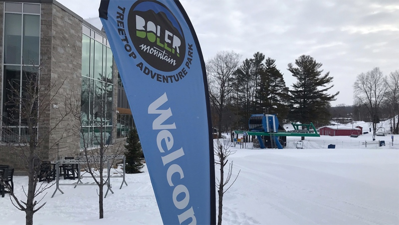The welcome sign is out at London's Boler Mountain in anticipation of downhill skiing, snowboarding and tubing resuming on Tuesday, Feb 16, 2021. (Sean Irvine / CTV News)