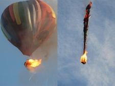 This combination of two photos shows the charring of the balloon's facade as the fire progressed. (AP / Don Randall)
