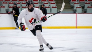 Sarah Potomak was on the ice last month in Calgary for Team Canada's training camp. (Hockey Canada)