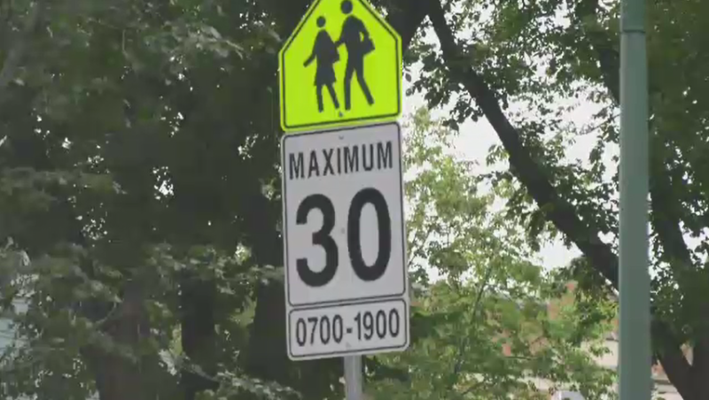 school zone sign 30k/h