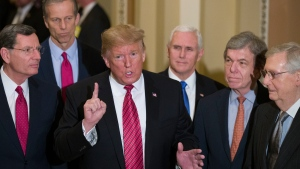 In this Wednesday, Jan. 9, 2019 file photo, Sen. John Barrasso, R-Wyo., left, and Sen. John Thune, R-S.D., stand with U.S. President Donald Trump, Vice President Mike Pence, Sen. Roy Blunt, R-Mo., and Senate Majority Leader Mitch McConnell of Ky., as Trump speaks while departing after a Senate Republican Policy luncheon, on Capitol Hill in Washington. (AP Photo/Alex Brandon, File)