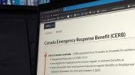 A new analysis of two government wage-support programs says four out of five people will receive less from employment insurance than they get from a COVID emergency benefit, unless there are changes to the system. The landing page for the Canada Emergency Response Benefit is seen in Toronto, Monday, Aug. 10, 2020. THE CANADIAN PRESS/Giordano Ciampini