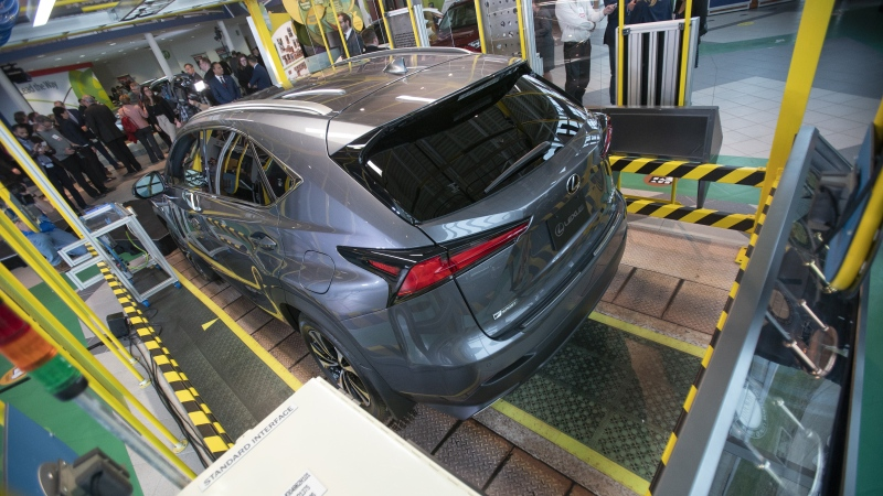 A Lexus NX300 is shown in the Visitor Centre following an announcement at the Toyota Motor Manufacturing Canada's plant in Cambridge Ont., Monday, April 29, 2019. Statistics Canada says manufacturing sales fell. THE CANADIAN PRESS/ Geoff Robins
