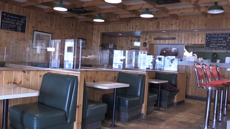 Empty tables and booths the day before in-person dining resumes at Linda's Eating Place & Coffee Shop in Midhurst, Ont. on Mon. Feb. 15, 2021 (Siobhan Morris/CTV News)