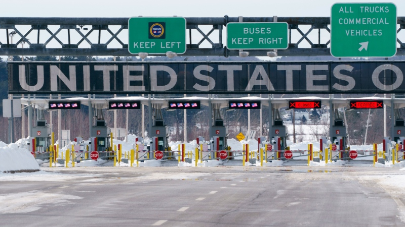 The border crossing into the United States is seen during the COVID-19 pandemic in Lacolle, Que. on Friday, February 12, 2021. THE CANADIAN PRESS/Paul Chiasson