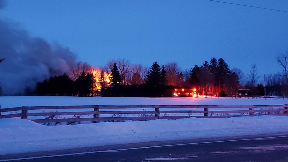 Fire burning a home behind a tree line