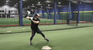 Adam Hall practices at Centrefield Sports in London, Ont. on Tuesday, Feb. 16, 2021. (Brent Lale / CTV News)