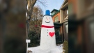 A 14-foot snowman has moved into Toronto's Bloor West Village and neighbours are loving it. (Instagram:@snowman_and_sammy)