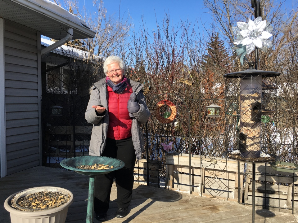 Rachel Ling in her backyard. (Taylor Rattray / CTV Regina)