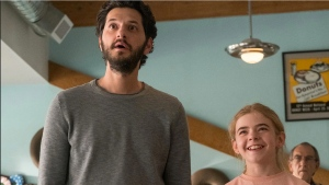 Ben Schwartz as George and Matilda Lawler as Flora in FLORA & ULYSSES, exclusively on Disney+. (Disney +)