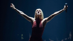 Singer Celine Dion performs during her first World Tour show called Courage at the Videotron Centre, Wednesday, Sept. 18, 2019, in Quebec City. The European dates of her tour have been postponed to 2022. THE CANADIAN PRESS/Jacques Boissinot