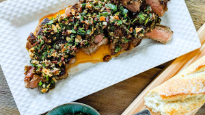 Cast Iron Steak with Almond and Parsley Salsa