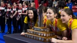 Team Manitoba skip, Kerri Einarson, third, Val Sweeting, second, Shannon Birchard and lead, Briane Meilleur pose with the trophy after defeating Team Ontario to win the Scotties Tournament of Hearts in Moose Jaw, Sask., Sunday, February 23, 2020. THE CANADIAN PRESS/Jonathan Hayward