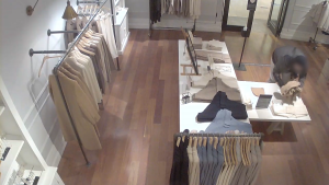 A still image from video released by the Vancouver Police Department shows an alleged shoplifter.