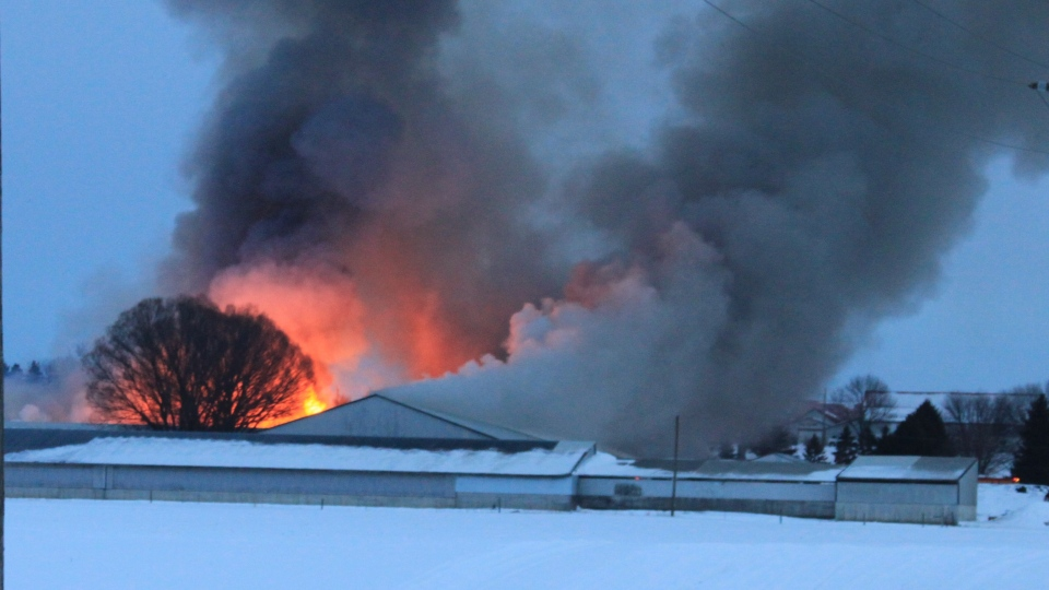 Barn fire near Aylmer Ont.