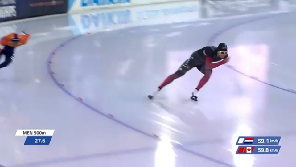 Canadian speed skater Laurent Dubreuil won gold in the men's 500 metres at the world championships in Holland