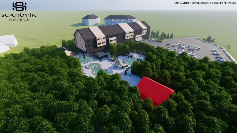 Scandvik Hotels is proposing a Scandinavian Boutique Wellness Hotel and Spa development to be built in The Willows area. (Artist rendering)