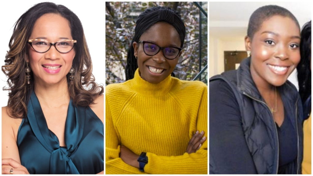 Composite photos of lead organizer for Black Donors Save Lives Sylvia Okonofua, centre, Dorothy Vernon-Brown, left, and Revée Agyepong, right. (Black Donors Save Lives)