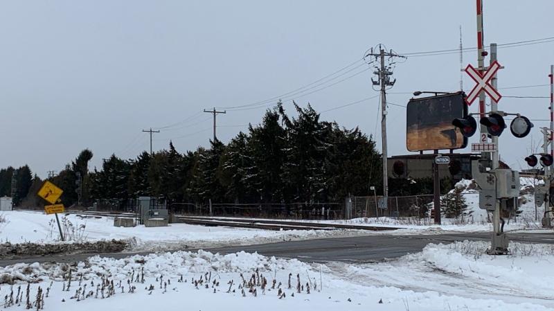 A train crossing near Clarke Road and Freestone Boulevard in London, Ont. is seen Thursday, Feb. 18, 2021. (Reta Ismail / CTV News)