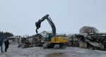 Clean-up begins a day after a fire at a dairy farm near Aylmer, Ont., Thursday, Feb. 18, 2021. (Reta Ismail / CTV News)