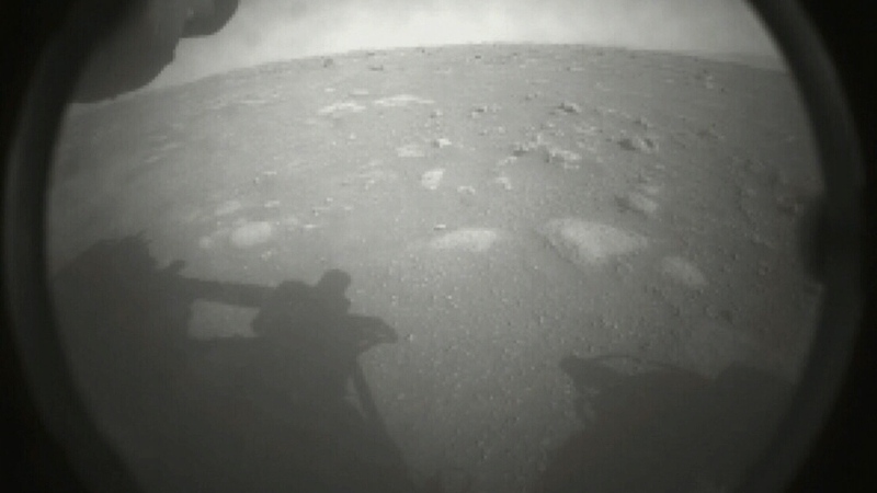 NASA's Perseverance rover has sent back its first images from the Martian surface after its successful landing on Feb. 18, 2021. (NASA)