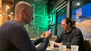 Guests at The Dotte in Riverside are filling out a digital contact tracing form using ID Quickly, developed by tech firm Red Piston on Feb. 17, 2021. (Rich Garton / CTV Windsor)