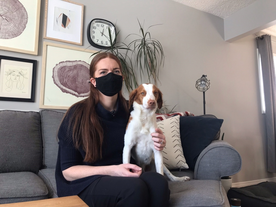 Kira Novak and Lily, her recovery dog, who she got in June 2020. (Stefanie Davis / CTV Regina)