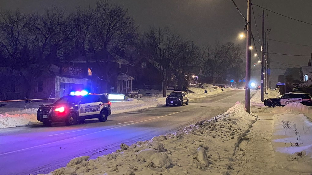 Police tape on Courtland Avenue in Kitchener