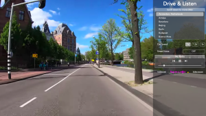 """A screenshot taken while users """"drive"""" through the streets of Amsterdam from the site Drive&Listen (Drive&Listen)"""