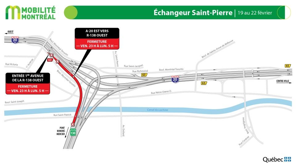 Saint-Pierre Interchange closures Feb. 19-22, 2021