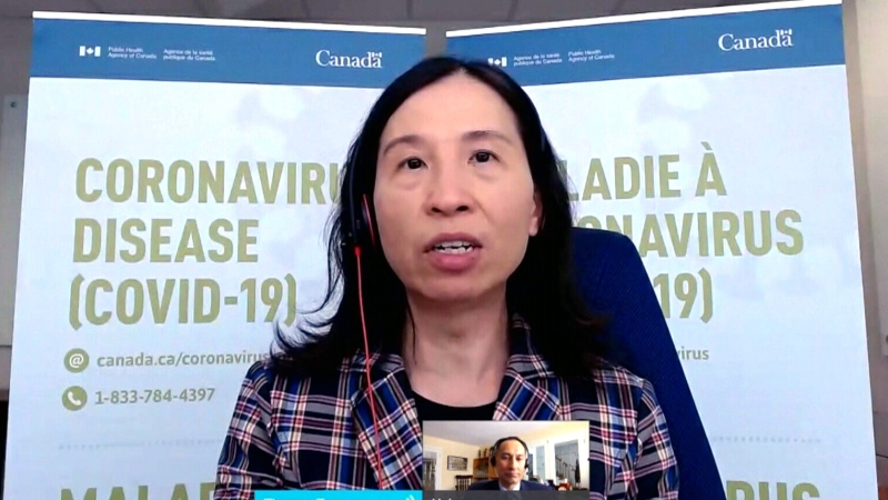 Canada's Chief Public Health Officer Theresa Tam speaks during a press conference, Friday, Feb. 19, 2021.