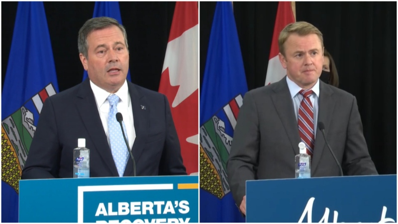 Premier Jason Kenney, left, and Health Minister Tyler Shandro announced Alberta is moving to Phase 1B of its vaccine rollout plan.