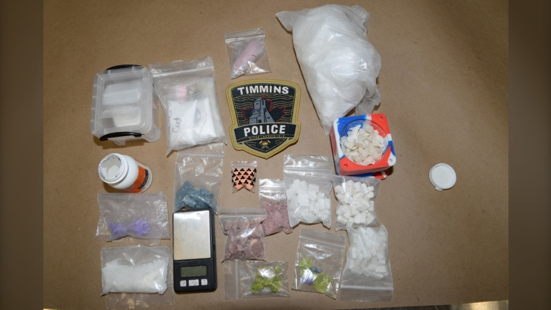 The Timmins Police Service (TPS) executed two search warrants simultaneously on Feb. 18 seizing an assortment of narcotics and arresting seven people on trafficking charges. Feb.19/21 (Supplied photos)