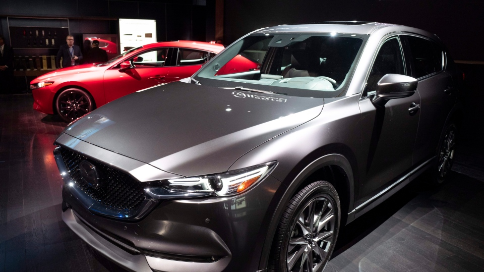 The 2019 Mazda CX-5 is shown at the New York Auto Show, Wednesday, April 17, 2019. (AP Photo/Mark Lennihan)