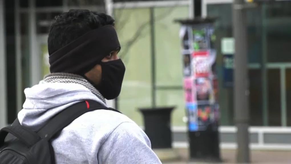Man in COVID-19 mask, Calgary
