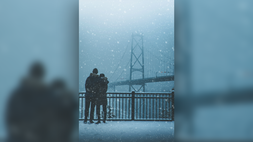 Snow picture mystery couple