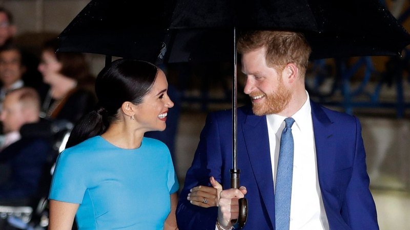 Britain's Prince Harry and Meghan, the Duke and Duchess of Sussex arrive at the annual Endeavour Fund Awards in London, Thursday, March 5, 2020. (AP / Kirsty Wigglesworth)